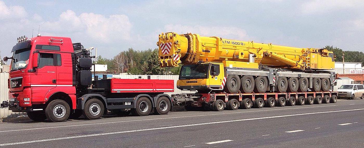 перевозка крупного автокрана тралом